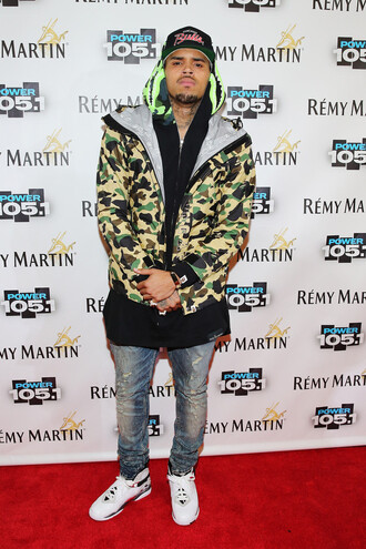 camouflage jacket chris brown green jacket menswear military veste