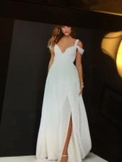 dress,white,long,v neck,sheer,white straps beach dress