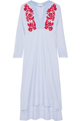 dress midi dress embroidered midi cotton blue
