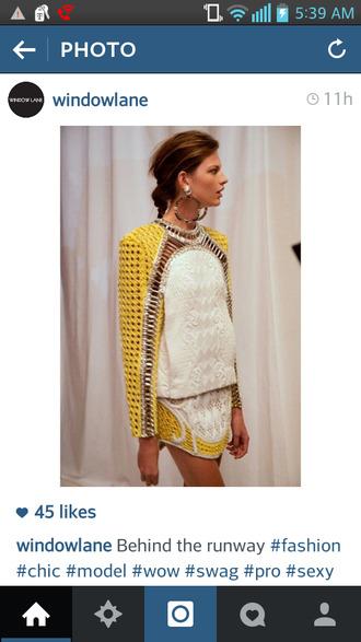 skirt yellow jacket balenciaga balmain dion lee cut-out