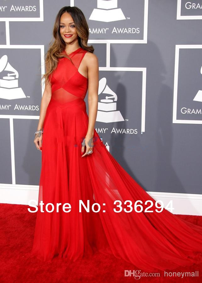 Sexy celebrity dress inspired by rihanna 2014 the 55th grammy awards red carpet dresses sheer halter real images chiffon dresses