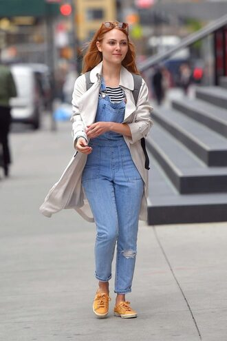 jeans denim overalls sneakers coat top annalynne mccord streetstyle spring outfits