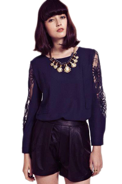KCLOTH Casual Top with Lace Sleeves in Blue