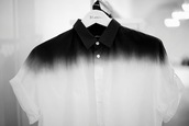 shirt,dip dyed,black,white,top,button up,menswear,ombre,white shirt,black shirt,polo shirt,unisex,ombre shirt,collared shirt,dye,tie dye,dyed,cute,dark blue,blue,black and white,button,button up shirt,buttons,cool,nice,collared dress,collared shirts,rolled sleeves,short sleeve,long sleeves,blouse,button-up top,t-shirt