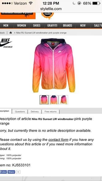 jacket nike sunset orange yellow purple windbreaker