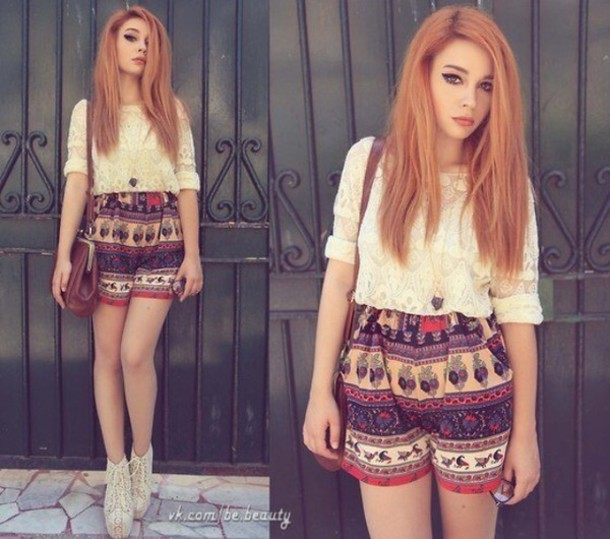 shorts pattern tumblr pretty indie hipster