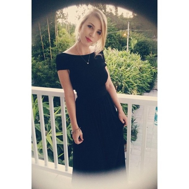 dress black boat neck black prom dress short sleeve