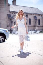 cocorosa,blogger,dress,white dress,lace dress,midi dress