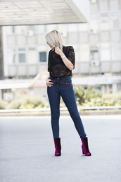 shoes,velvet boots,velvet,boots,purple boots,purple,ankle boots,high heels boots,jeans,denim,blue jeans,embroidered,embroidered jeans,top,black top,black lace top,lace top,underwear,bra,black bra,streetstyle,fall outfits