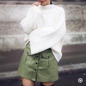 skirt,green skirt,white sweater,tumblr,mini skirt,button up,button up denim skirt,sweater,knit,knitted sweater,bell sleeve sweater