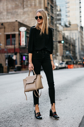 fashionjackson blogger top jeans shoes bag sunglasses blouse black shirt gucci shoes loafers black jacket