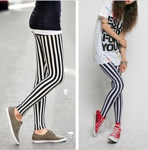 Fashion New Women Black and White Vertical Stripes striped Leggings Tights Pants