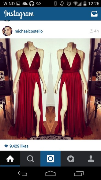 dress red dress michaelcostello gown prom dress long dress maxi dress slit dress
