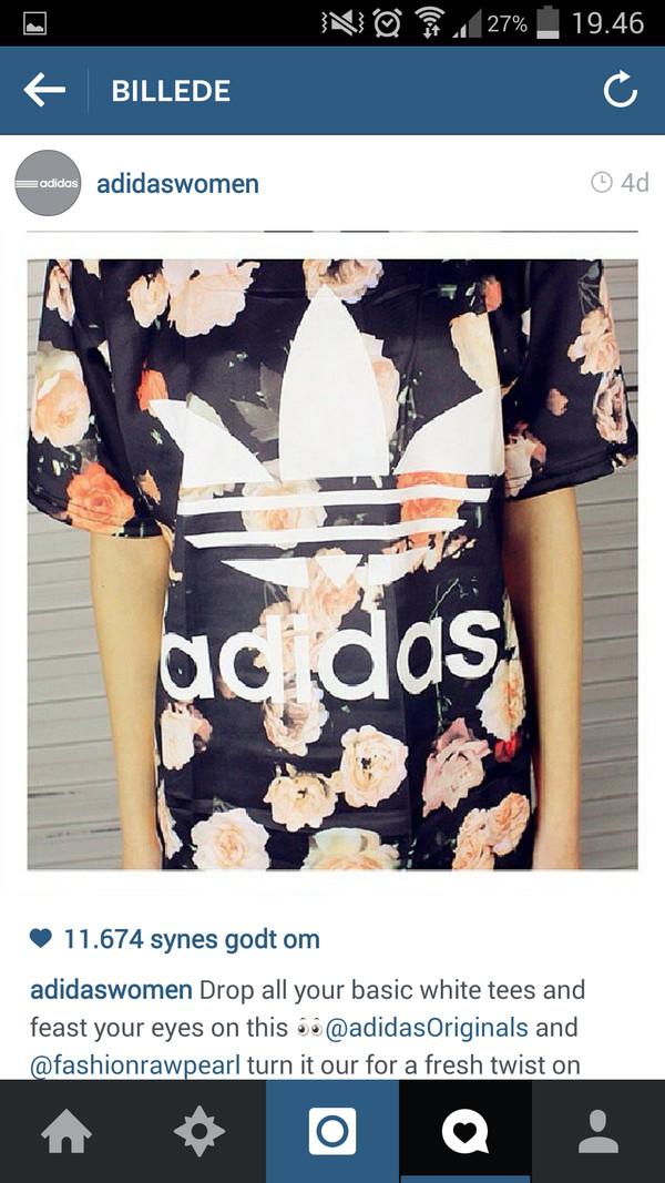 shirt adidas adidas originals floral roses big trefoil trefoil t-shirt