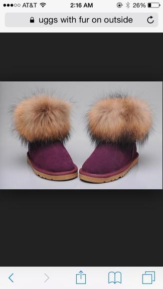 fur sheepskin uggs or sheepskin boots pink