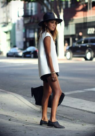 top panama hat black brogues black shorts denim shorts black denim shorts white top tailored top black tote celine bag monochrome sincerely jules blogger