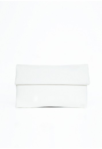 Missguided - Doroteia Clutch Bag With Roll Down Fastening In White