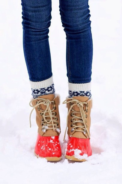 shoes boots red ankle boots rubber boots duck boots winter boots winter swag