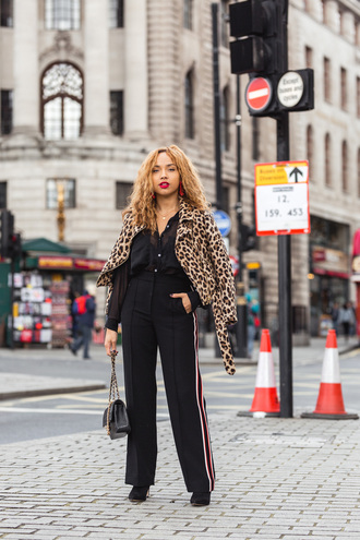 a style diary blogger shirt pants shoes jacket bag jewels leopard print fall outfits leopard jacket chain bag chanel bag boots tumblr wide-leg pants black pants black shirt