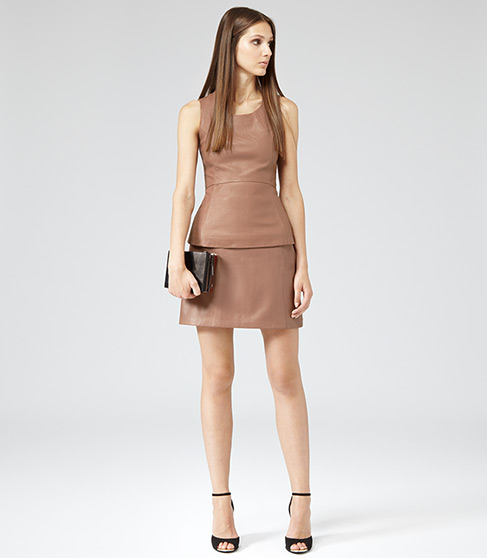 Oakley Cognac Leather Mini Skirt - REISS