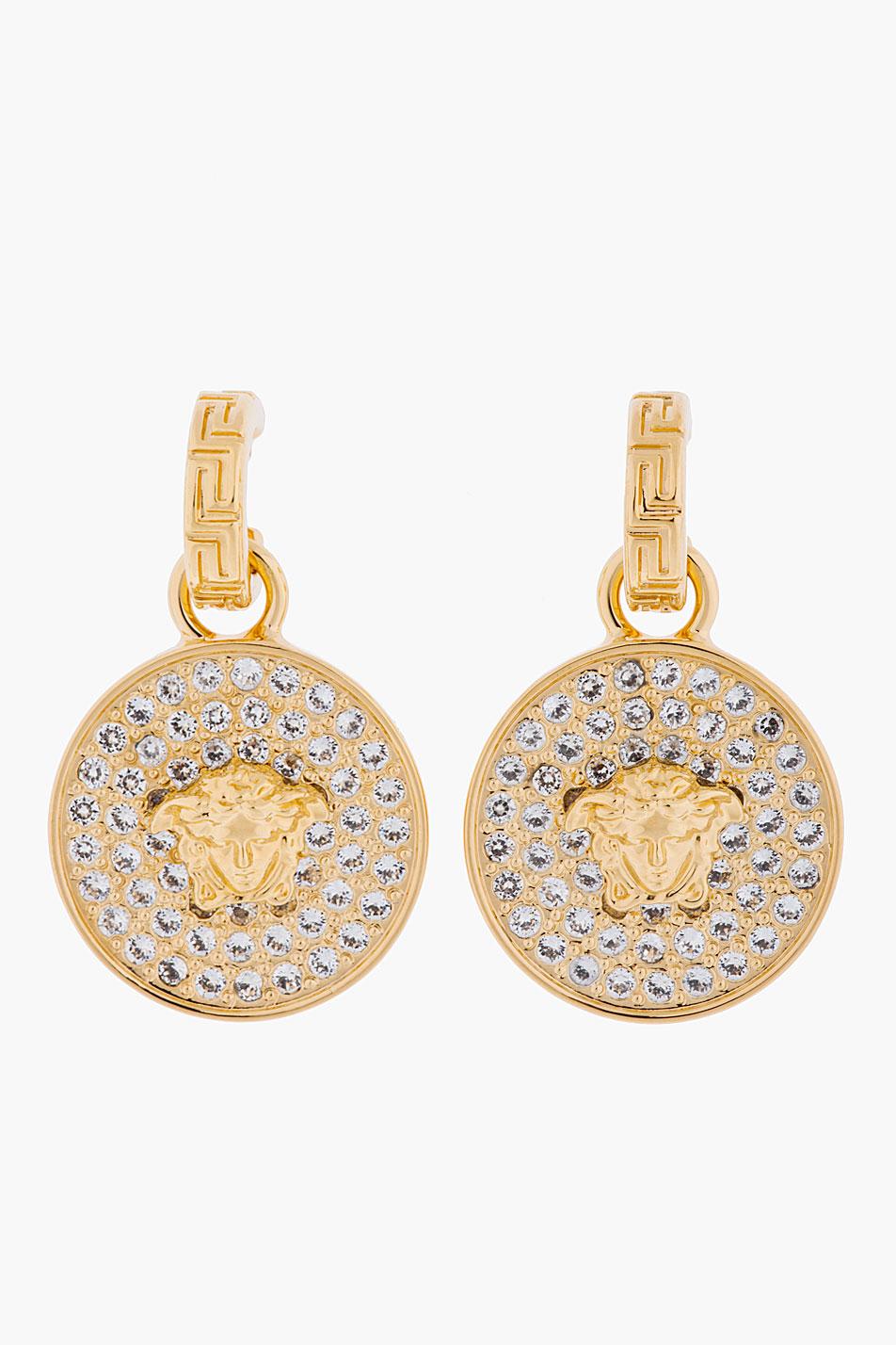 Innovative Versace Gold Amp Crystal Medusa Charm Earrings