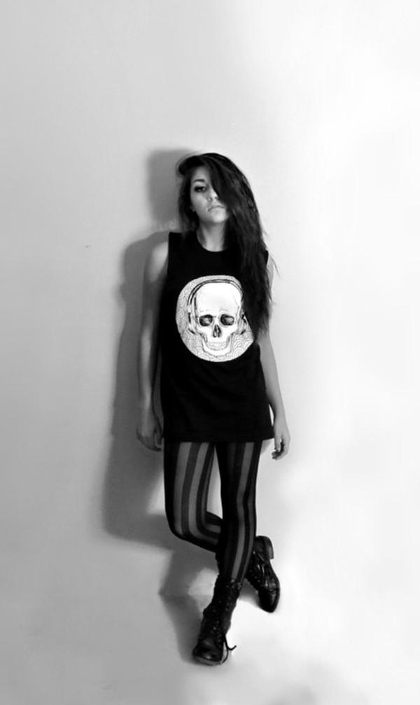 tank top skull andrea russett shorts tights stripes top skull dress short dress shirt