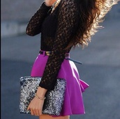 shirt,crochet top,lace,black,skater skirt,purple,high waist skirts,high waisted skirt,evening outfits,glitter,clutch,bag,skirt