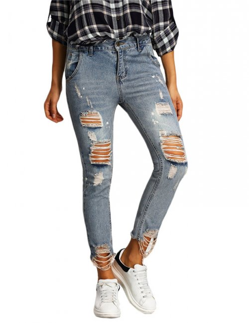 Women's Casual Distressed Skinny Ankle Length Jeans