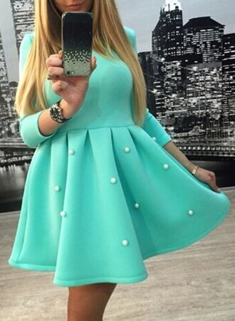 dress mint pearl puffy dress girly cute turquoise short dress long sleeves