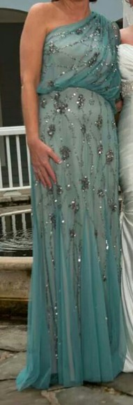 beaded aqua blue dress beaded long dress one shoulder grecian dress pleated dress blue