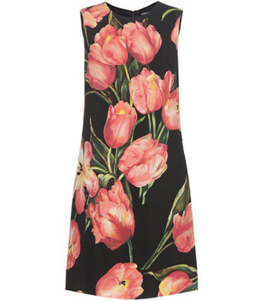 Dolce & Gabbana Printed Wool Crêpe Shift Dress in black