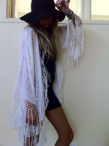 cape jacket cardigan shrug white fringe boho white jacket bohemian