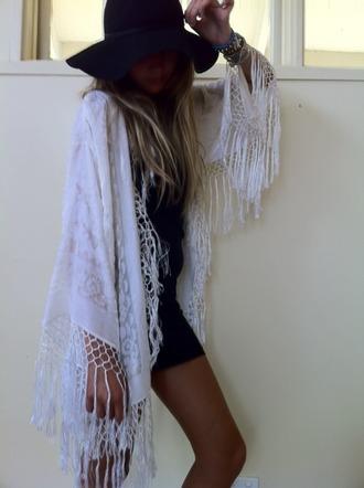 cape jacket cardigan shrug white fringes boho white jacket bohemian kimono indie