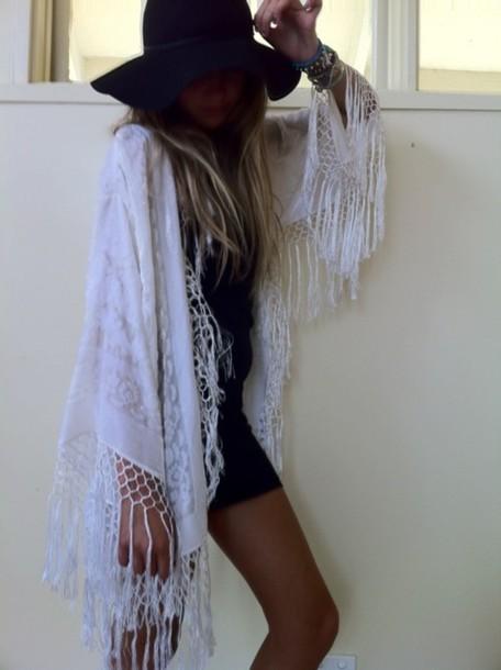 cape jacket cardigan shrug white fringes boho white jacket bohemian kimono indie sweater white boho fringe