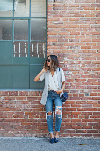 song of style blogger blouse jacket jeans shoes bag sunglasses
