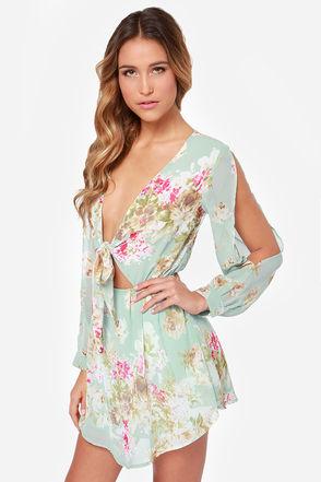 Pretty Floral Print Dress - Mint Dress - Long Sleeved Dress - $40.00