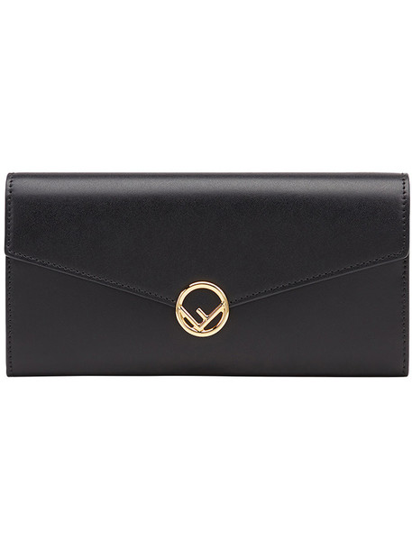 Fendi - logo flap purse - women - Calf Leather - One Size, Black, Calf Leather