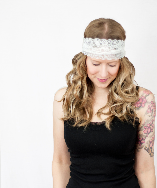 White Lace Headband Wide Stretch Hairband Accesory Bridal Wedding Head Wrap Boho Floral Head Band
