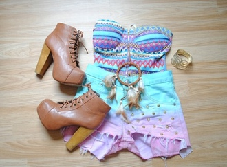 shirt dip dye shorts colorful patterns aztec shorts frayed shorts studs studded shorts high heels dreamcatcher necklace jewlery vintage top