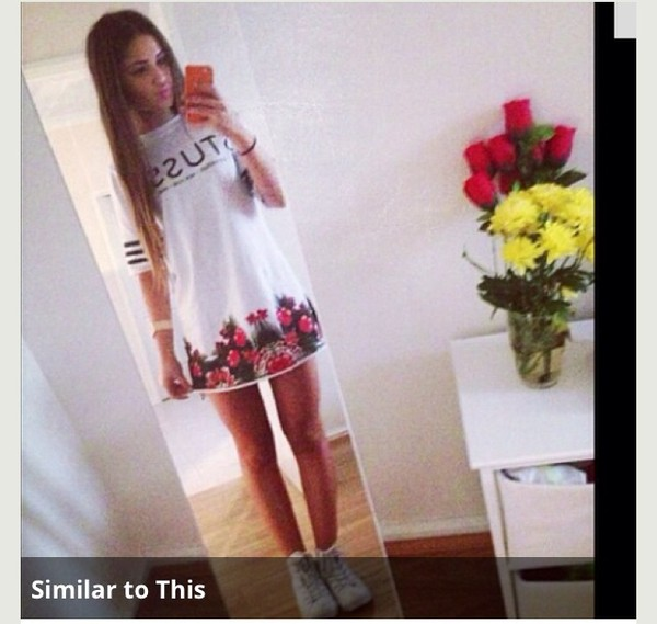 dress t-shirt sportswear sportswear floral style white white dress