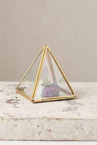 home accessory triangle geometric hipster glass gemstone gold metallic home decor