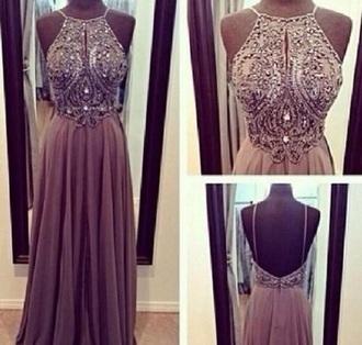 dress tan long dress prom dress gown beaded plum brown dress
