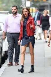 skirt,denim,denim skirt,denim shirt,josephine skriver,model,fall outfits,biker jacket,boots