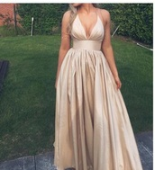 dress,formal,prom,gold,boho,gorgeous,tumblr,outfit,dressy,prom dress,beige,satin,silk,silky,maxi dress,long dress,plonge,pretty,shiny,elegant,champagne prom dress,long prom dress