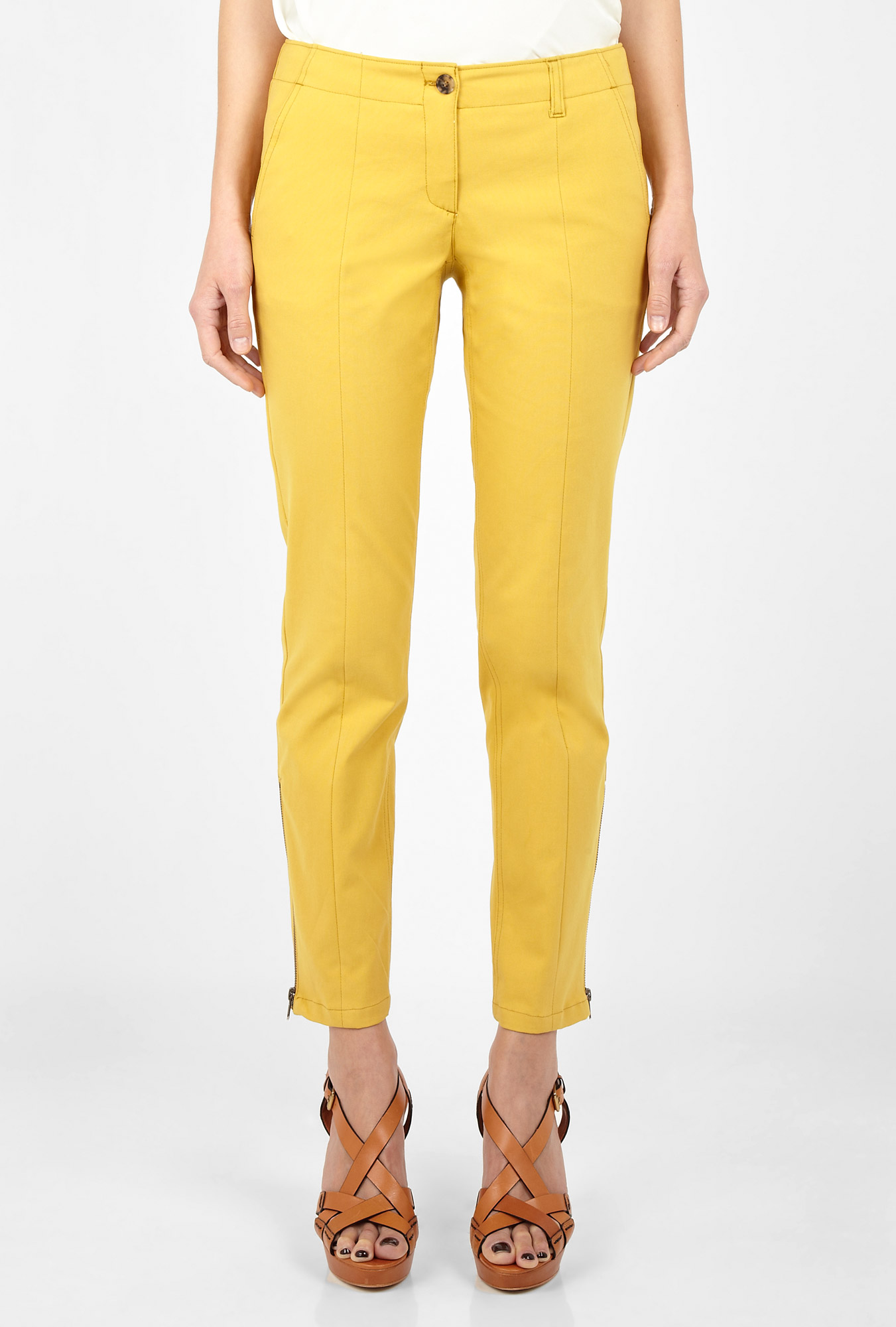 Yellow gold nickela stretch canvas trousers by theory