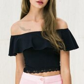 top,black,summer,off the shoulder,crop tops,trendy,rose wholesale-ap