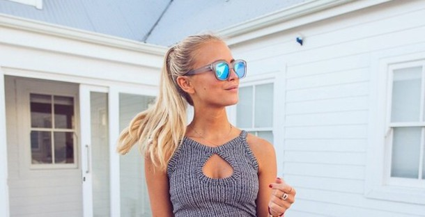 sunglasses girly blue sunglasses blonde hair dress tumblr outfit summer dress summer top