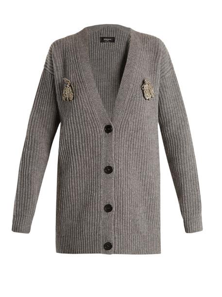 Rochas cardigan cardigan embellished wool grey sweater