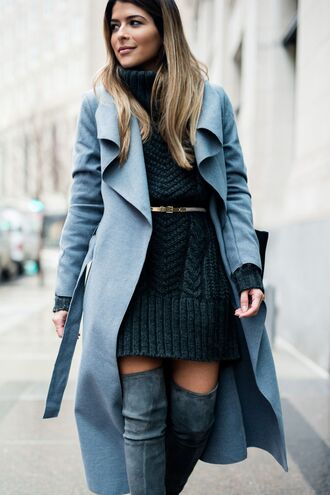 dress tumblr knitted mini dress mini dress knitwear knitted dress sweater sweater dress black dress cable knit turtleneck belt boots grey boots coat long coat waterfall coat grey coat thigh high boots over the knee boots turtleneck dress black knit dress chunky knit