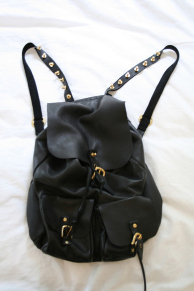 black bag lether bagpack rucksack rivets lether bag studs backpack gold bags buckles triangle studs black backpack gold buckles pockets leather leather backpack